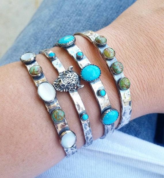 Turquoise stone cuffs