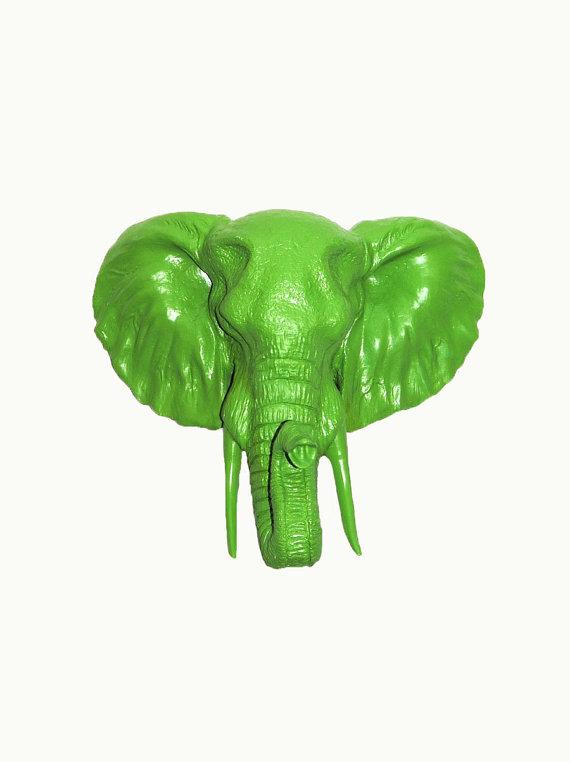 Faux Green Elephant Head