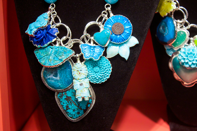 Coreen Cordova Necklace Layered with Blue Pendants