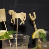 DIY Gold Kentucky Derby Cocktail Stirrers in Mint Juleps