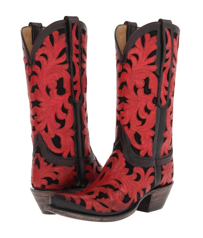 Red and Black Tooled Lucchese Cowboy Boots
