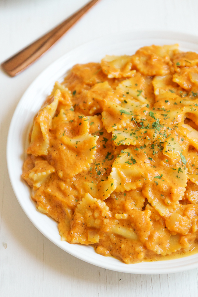 Buttery and Creamy Pumpkin Pasta is an easy vegetarian meal