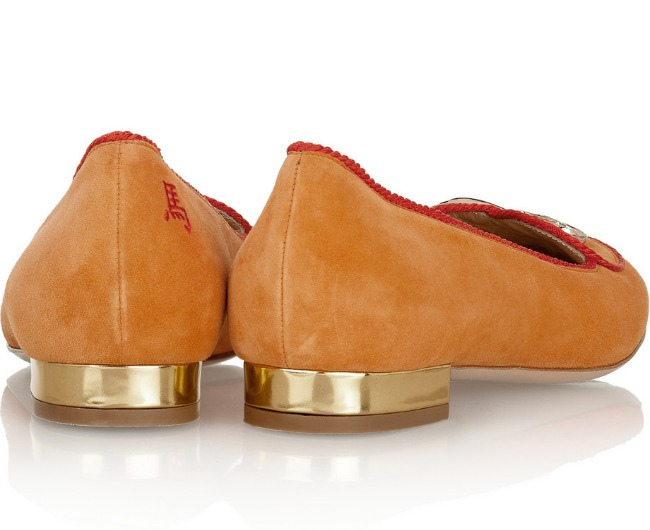 Orange Charlotte Olympia Year of the Horse Suede Flats
