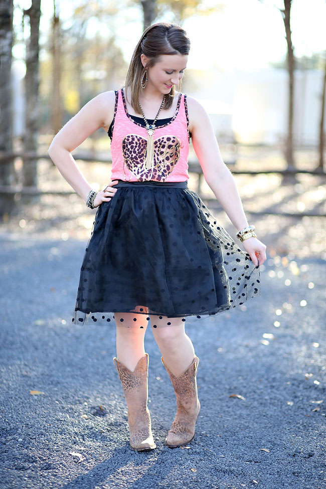 Leopard heart tank and leopard cowboy boots