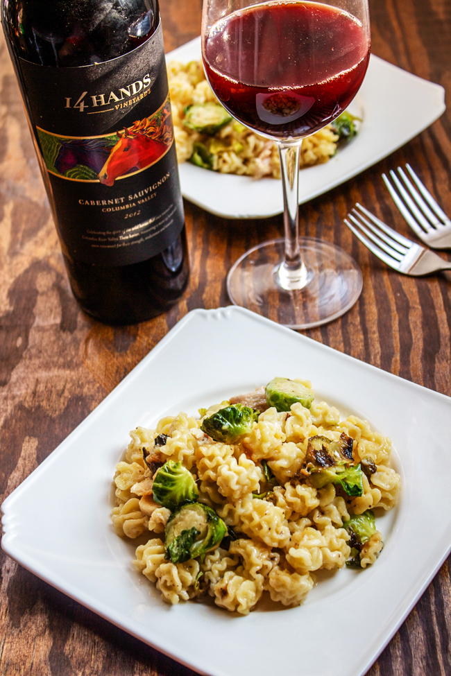 White Mac & Cheese with Brussels Sprouts