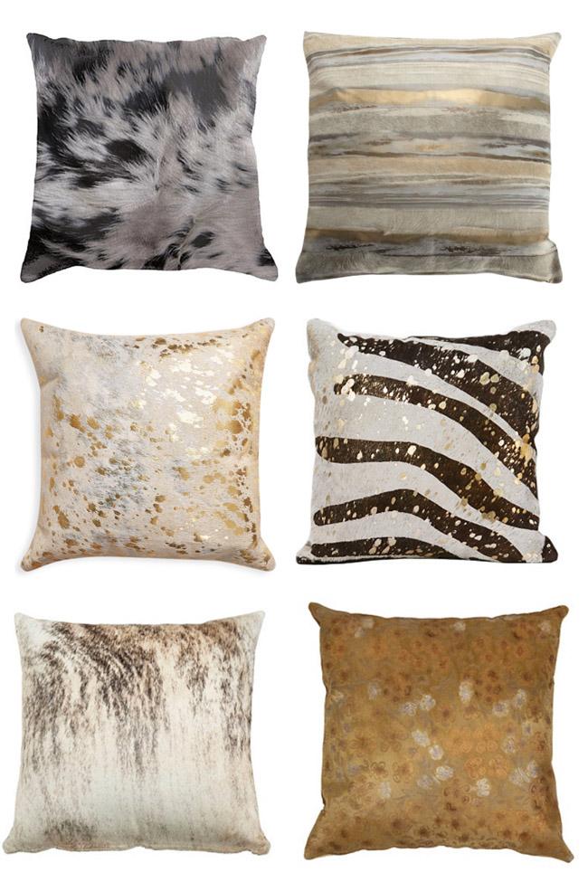 Non traditional cowhide pillows