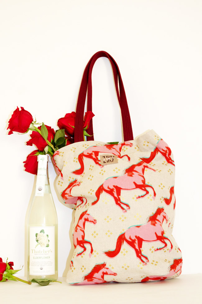 Pink Mustang Print Polo Bag