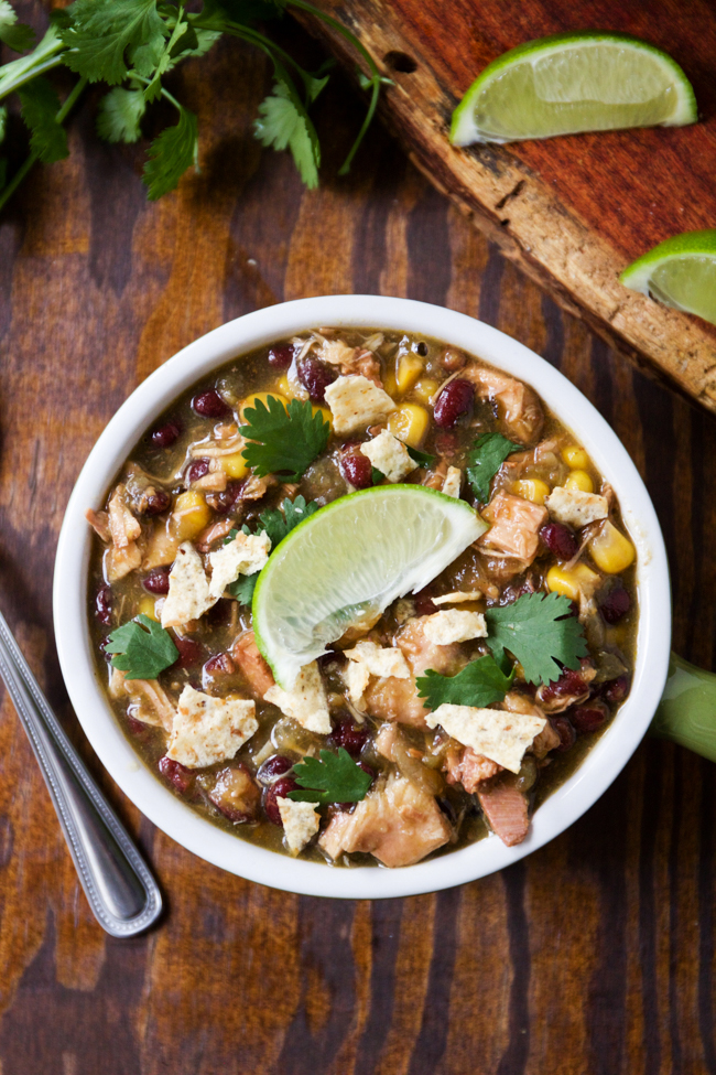 Verde Chicken Chili with cilantro and lime