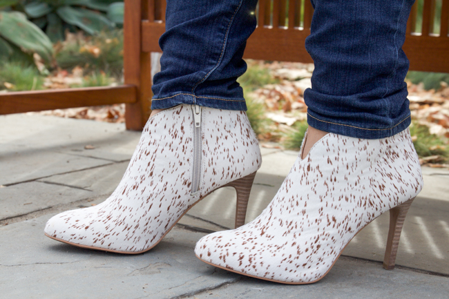 Sarla cowhide booties and denim