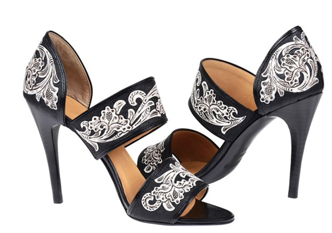 Lucchese Rose black and white leather sandals