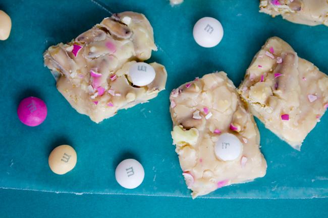 M&M's White Strawberry Shortcake Easter Fudge
