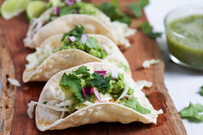 Tacos with pineapple salsa verde