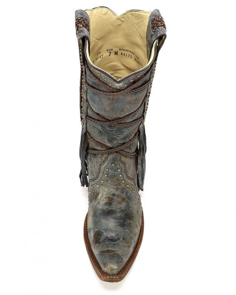Corral fringe overlay cowboy boots