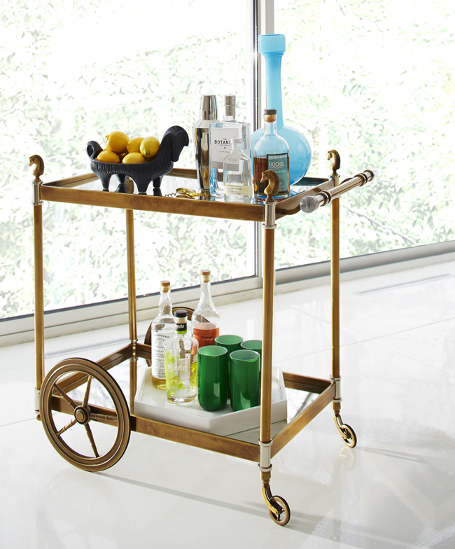 cheval brass bar cart