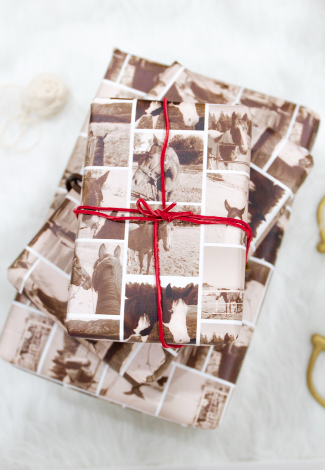 horse print sepia wrapping paper
