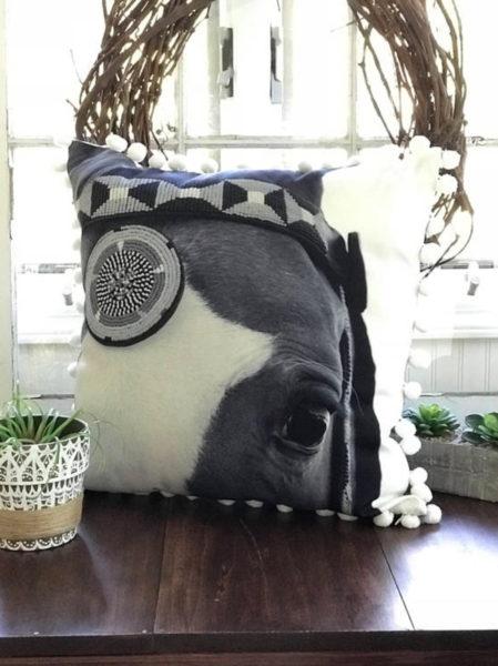 horse face pom pom pillow
