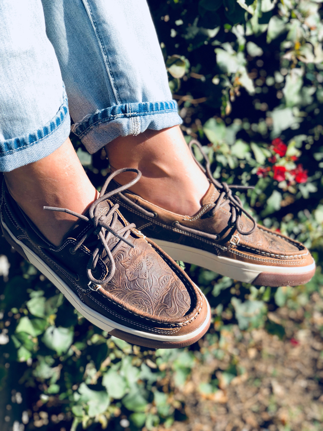 Tooled leather boat shoes by Durango